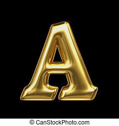 LETTER A in golden metal