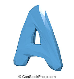 Letter A in Low Poly Style on white background.3D Rendering. Illustration