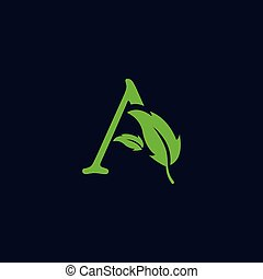 letter a leaf nature, eco green logo template vector isolated