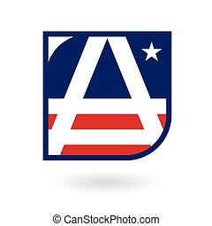 letter A logo emblem in American flag style