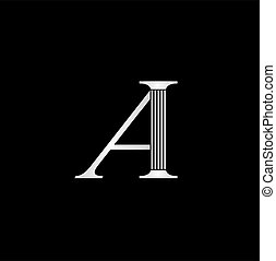 Letter A logo - Letter A with column