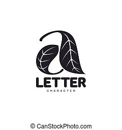 Letter A logo template formed by two leaves, vector illustration