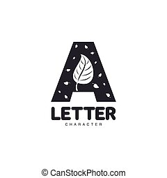 Letter A logo template with leaves, vector illustration