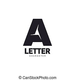 Letter A logo template with three-edged star middle