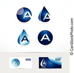 Letter A logo water drop