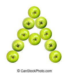 Letter A made of apples