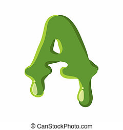 Letter A made of green slime
