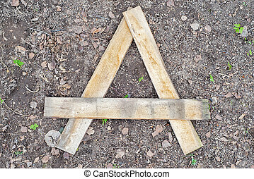 Letter A made of wooden planks