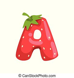 Letter A of English alphabet made from ripe fresh srawberry, bright red berry font vector Illustration on a white background