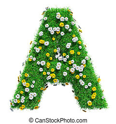 Letter A Of Green Grass And Flowers