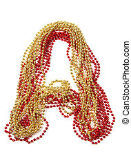 Letter a of red and gold beads