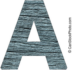 Letter A of the alphabet, with wood texture in blue color