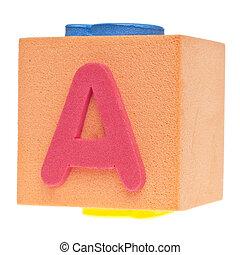 Letter A on Foam Block