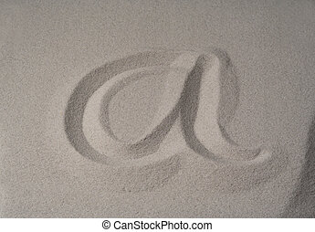 letter a  on sand