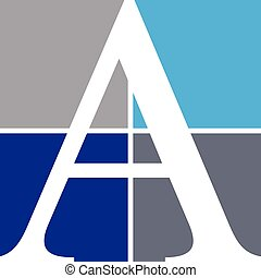 Letter A placed on four squares
