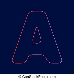 Letter A sign design template element. Vector. Line icon with gradient from red to violet colors on dark blue background.