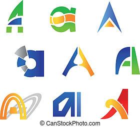 Letter A symbols - Set of alphabet symbols and icons of ...