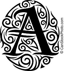 letter A tattoo tribal design