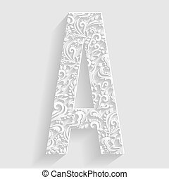 Letter A. Vector Floral Invitation
