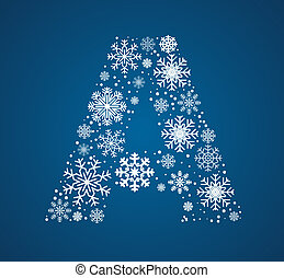 Letter A, vector font frosty snowflakes