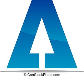 Letter A with Arrow Up
