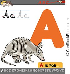 letter a with cartoon armadillo