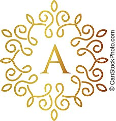 letter A with gold frame