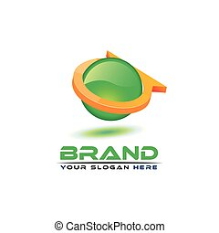 Letter A  with green ball on white background. Logo Design Template. 3D logo design