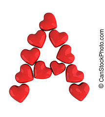 letter a with red hearts, 3d illustration