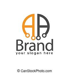Letter AA stock logo, AA initial., flat design. technology...