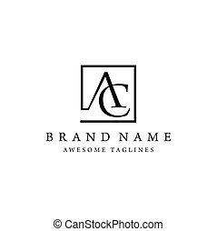 letter AC square logo - elegant and classy AC letter ,...