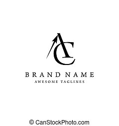 letter AC with arrow style - creative and elegant letter AC...