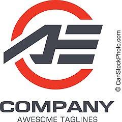 letter AE logo sport