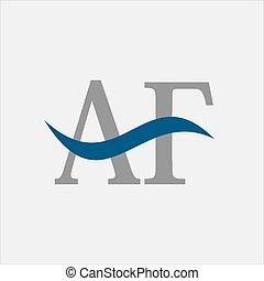 Letter AF Waves Logo