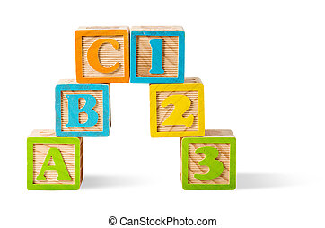 Letter and number blocks stacked on white background
