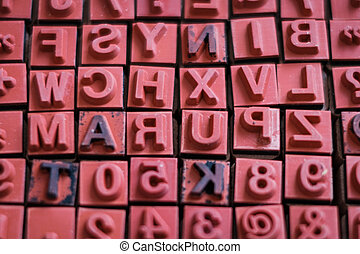 letter and number stamps macro - alphabet letterpress ,