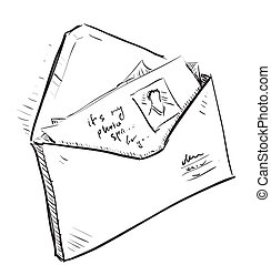 Letter and photos in envelope cartoon icon. Sketch fast ...