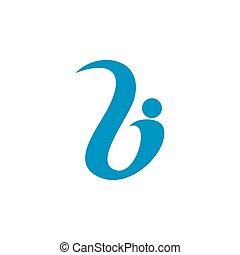letter b abstract human shape logo