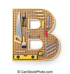 Letter B. Alphabet from the tools on the metal pegboard isolated on white.