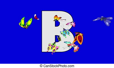 Letter B and Butterfly (foreground) - Animated animal...