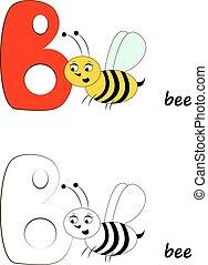 Letter B, Bee Illustration