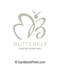 Letter B butterfly logo design