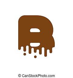 Letter B Chocolate font. sweetness alphabet. Liquid lettering. Sweet viscous ABC sign