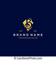 letter B diamond gold logo design