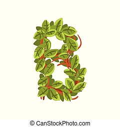 Letter B, English alphabet made of tree branches, ecology element for banner, card, label, presentation or poster vector Illustration