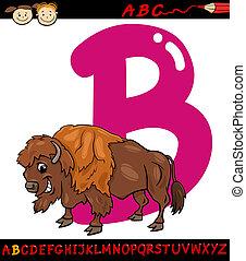 letter b for bison cartoon illustration