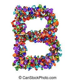 Letter B from colored gemstones. 3D rendering