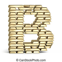 Letter B from gold bars