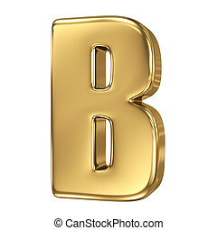 Letter B from gold solid alphabet