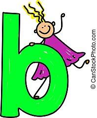 happy little girl climbing on giant letter B - lowercase version